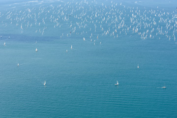 October, 08 2017, sailing boat race Barcolana, Trieste. Moments of the race.