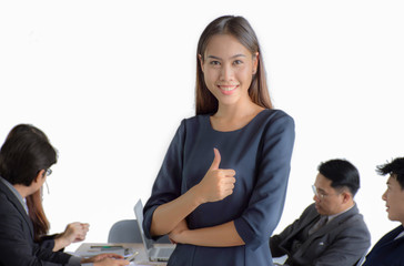 Friendly smiling businessman and businesswoman handshaking over the office desk after pleasant talk and effective negotiation, good relationship, making deal, hiring Business concept photo/Isolate