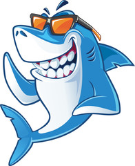 Smiling Shark Cartoon Mascot Character With Sunglasses