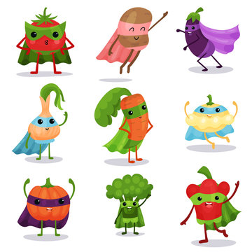 Cartoon flat characters set of superhero vegetables in capes and masks in different poses
