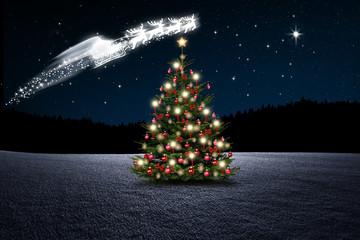 Wall Mural - Weihnachtsmann im Himmel  bei Nacht