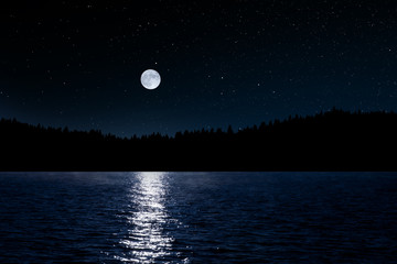 Foto auf Acrylglas Nacht Sternenhimmel über See