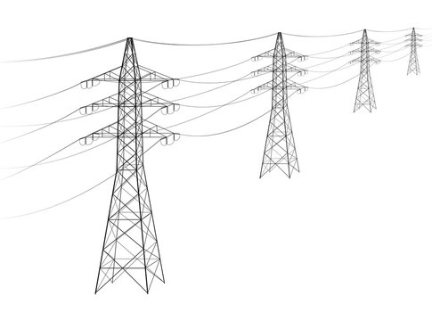 Overhead power line. A number of electro-eaves departing into the distance. Transmission and supply of electricity. Procurement for an article on the cost of electricity or construction of lines