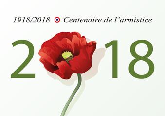 2018 - guerre mondiale - 14-18 - centenaire -armistice - commémoration - carte de vœux - coquelicot