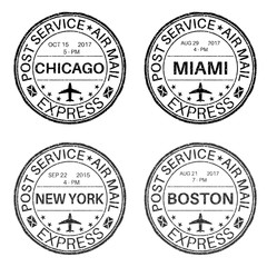 Black round postmarks for envelope with main american cities