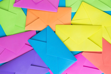 Colorful envelopes on the blue background.