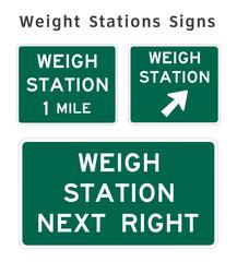 Regulatory traffic sign. Weight Stations. Vector illustration.