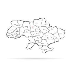 black thin line ukraine map regional centers