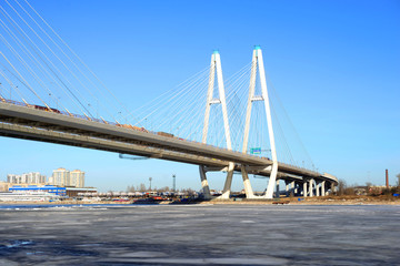 Cable stayed bridge at winter.