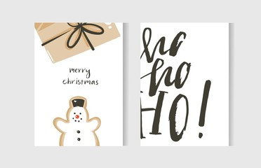 Hand drawn vector abstract fun Merry Christmas time cartoon cards collection set with cute illustrations,surprise gift box,snowman and handwritten modern calligraphy text isolated on white background