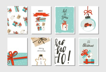Hand drawn vector abstract fun Merry Christmas time cartoon cards collection set with cute illustrations,surprise gift boxes,dogs and handwritten modern calligraphy text isolated on white background