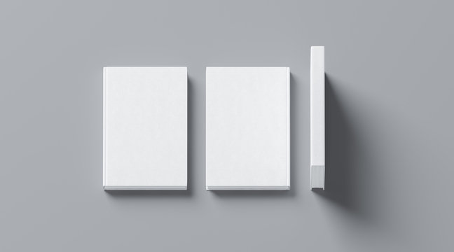 Blank white tissular hard cover book mock up, front, spine and back side view, 3d rendering. Empty notebook hardcover mockups, isolated. Bookstore branding template. Plain textbook with clear binding.