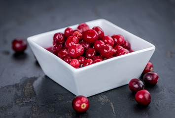 Preserved Cranberries (selective focus; detailed close-up shot)