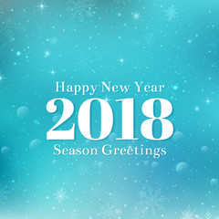 Happy New Year 2018 text design. Vector greeting illustration with white numbers and snowflakes. Blue winter background with bokeh, lights and snowflakes