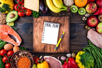 Healthy food concept. Fresh  vegetables, fruits, meat and fish on wooden table. Healthy eating and meal plan. Top view Papier Peint