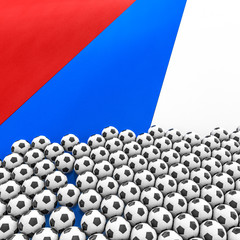 Russia soccer background / 3D illustration of soccer balls on Russian Federation flag