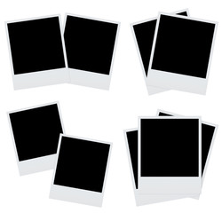 Set blank photography frame on white backround. 3d rendering.