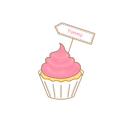 cake icon with yummy sign