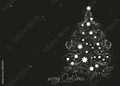 Weihnachtsgrüße Als Tannenbaum.Ein Gezeichneter Weißer Weihnachtsbaum Auf Schwarzem Hintergrund Für