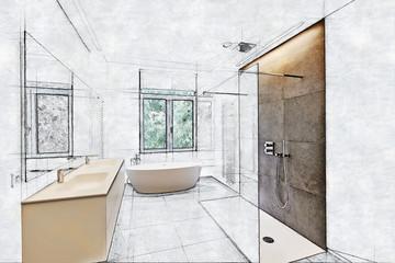Partial sketch of a Tiled bathroom