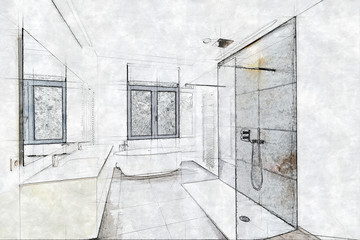 Sketch of a Tiled bathroom and shower