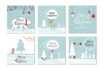 Set of 6 cute Christmas gift cards with quote Merry Christmas