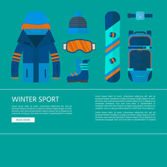 Skiing and snowboarding set equipment for website concept
