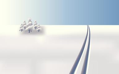 Winter landscape ski tracks, vector