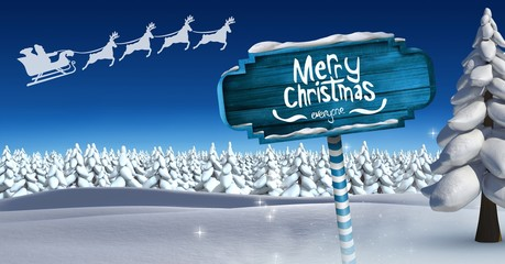 Merry Christmas and Wooden signpost in Christmas Winter