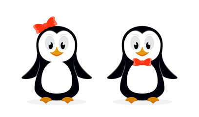 Two cute penguins on white background