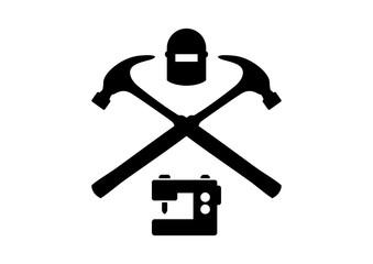 Cross Hammer with Welding Mask Illustration Logo Silhouette