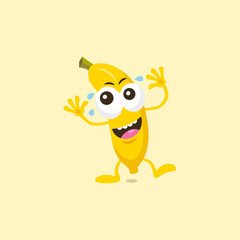 Illustration of cute laughing banana mascot isolated on light yellow background.