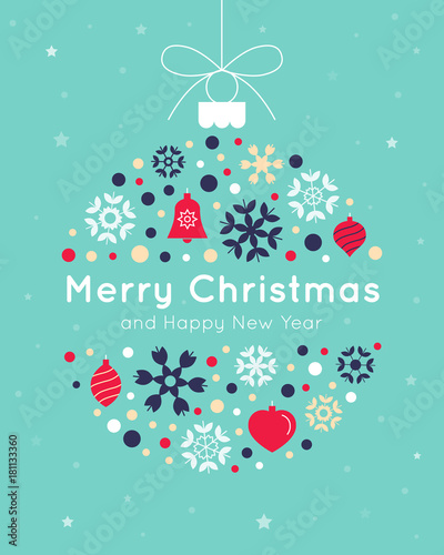 Christmas Card Template With Christmas Ball Made From Snowflakes And
