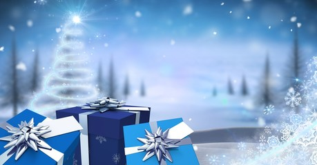 Gifts in magical Christmas Winter landscape