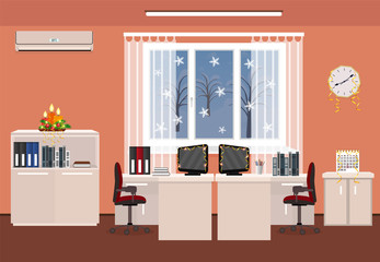 Christmas decor office room interior. Holiday design with serpentine including two work spaces