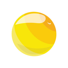 Cartoon yellow ball. Toy rubber ball for children. Color illustration for kids.