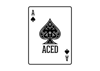 Swirls and Classic Black Spade Ace Poker Cards Casino Illustration Logo SIlhouette