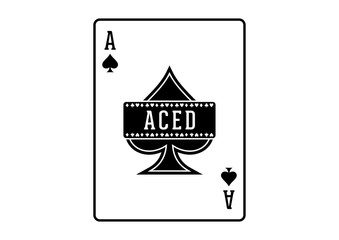 Ribbon Black Spade Ace Poker Cards Casino Illustration Aced Logo SIlhouette