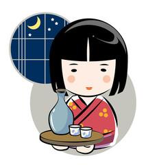 日本酒を運ぶ女性