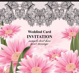 Lace and daisy flowers card Vector. Vintage invitation with realistic floral decors