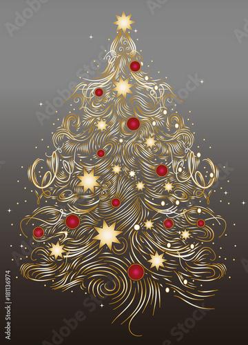 ein gezeichneter goldener weihnachtsbaum auf grauen. Black Bedroom Furniture Sets. Home Design Ideas