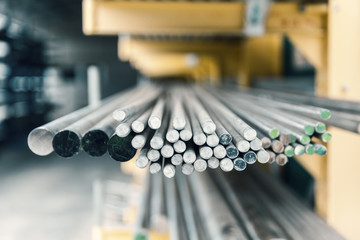 steel metal bars on pile