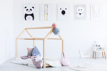 Rocking horse and child's bed