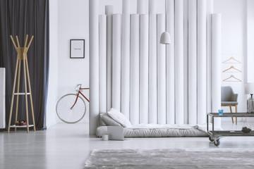 Wooden hanger in designer bedroom