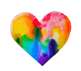 Watercolor rainbow heart on white paper