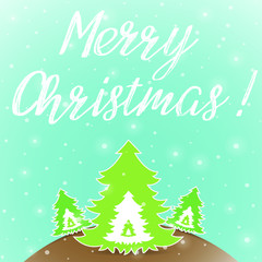 Merry Christmas greeting card with Christmas trees on blue background vector illustration
