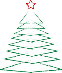 abstract scribble of a christmas tree, isolated on white,vector