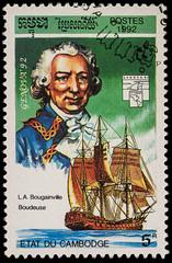 """French navigator Louis de Bougainville and ship """"La Boudeuse"""""""