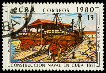 Shipbuilding in the 19th century on postage stamp