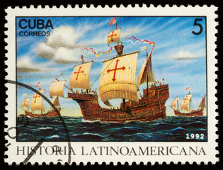 Three ships of Columbus on postage stamp